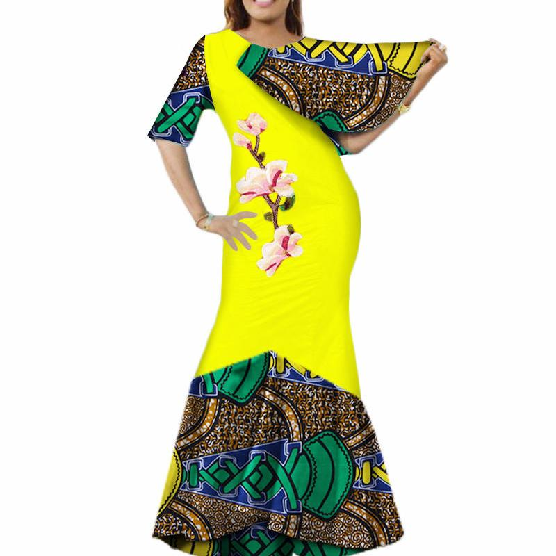 Женская мода Африканское Платье Африканский Восковой Печати Базин Riche Dashiki Длинное Платье Элегантная Леди Вечеринка Африка Макси Платье WY3597