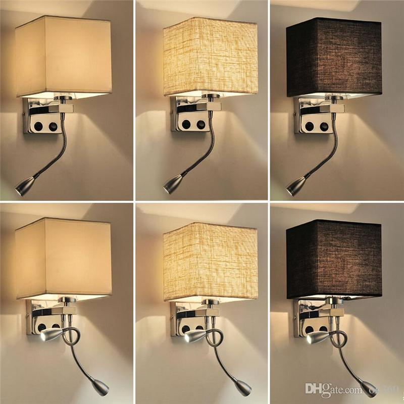 Cloth Wall Lamp Sconce Switch Stair Light Fixture E27 Bulb Flexible Reading light Bedroom Aisle Balcony Modern Wall Mounted Bedside Lighting