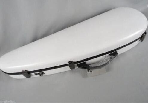 Nice Wharncliffe shape white color hardglass fiber violin case,2 bow holders