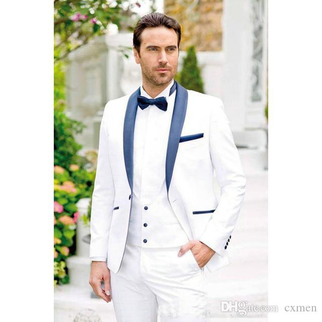 Custom Made White Groom Tuxedos Navy Blue Shawl Lapel Men Suit Wedding 2 Pieces (Jacket+Pants) Groomsman Prom Wear Bridegroom Blazers