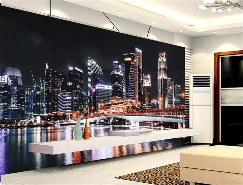 Custom Mural 3d Wall Paper Chicago Night View New York Lights