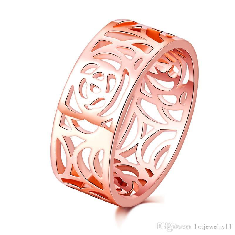 бесплатная доставка 8 мм 18 кг полный цветок розового золота старинные обручальные кольца кольца для женщин, полые дизайн кольца оптом