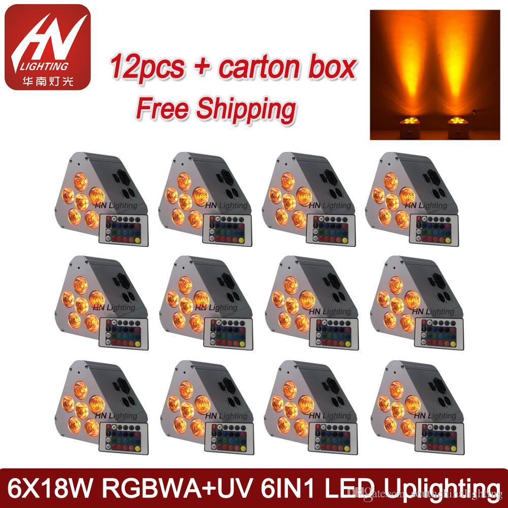 12pcs décoration dj 6x18w RGBWA UV sans fil par peut peut uplight télécommande batterie rechargeable alimenté led uplights LED mariage Uplight