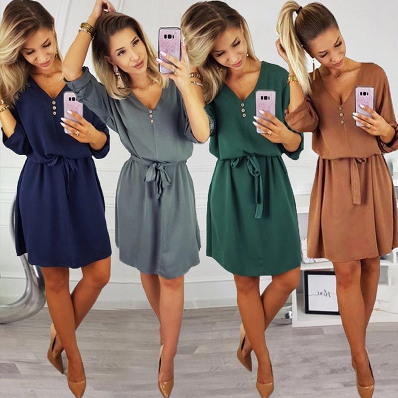 Donne Casual Elegante pulsante Sashes partito del vestito del manicotto mezzo sexy scollo a V una linea mini vestito da Vintage 2019 di nuovo modo di estate