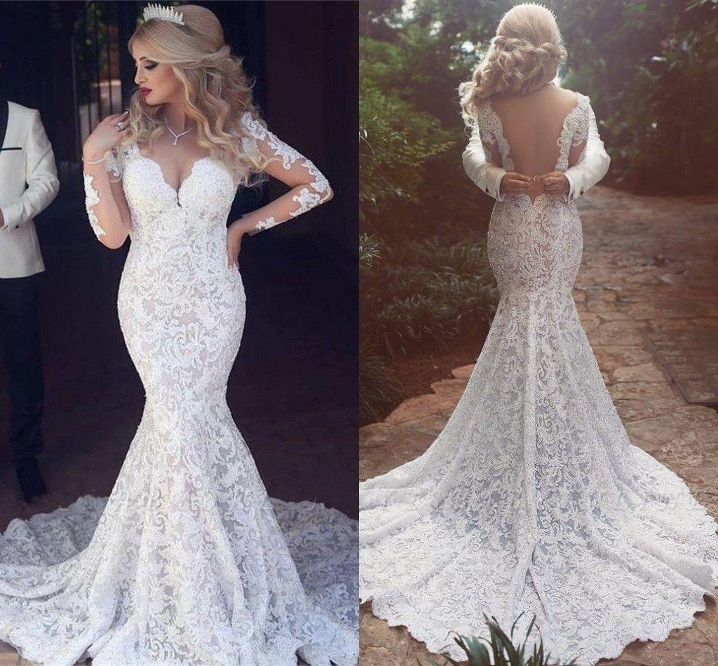 Arabic Mermaid Wedding Dresses Sheer Neck Backless Long Sleeve Sweep Train Lace Illusion Bodice Garden Beach Bridal Gowns vestidos de novia