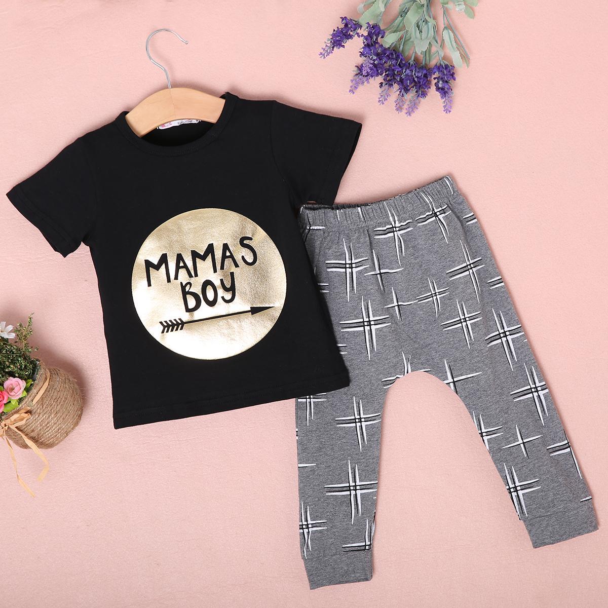 Bébés garçons Vêtements de loisirs Set Lettre noire du nouveau-né T-shirt d'été Hauts Tout-petits gris Imprimer Pantalon long Harem