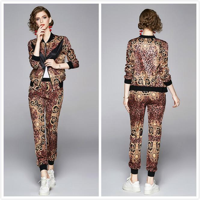 2020 Zarif kadın Leopar İki Parçalı Setleri Uzun Kollu Ceketler Coat + Uzun Pantolon 2 Adet Pist Tasarımcısı Baskılı Bayanlar İki Parçalı Pantolon