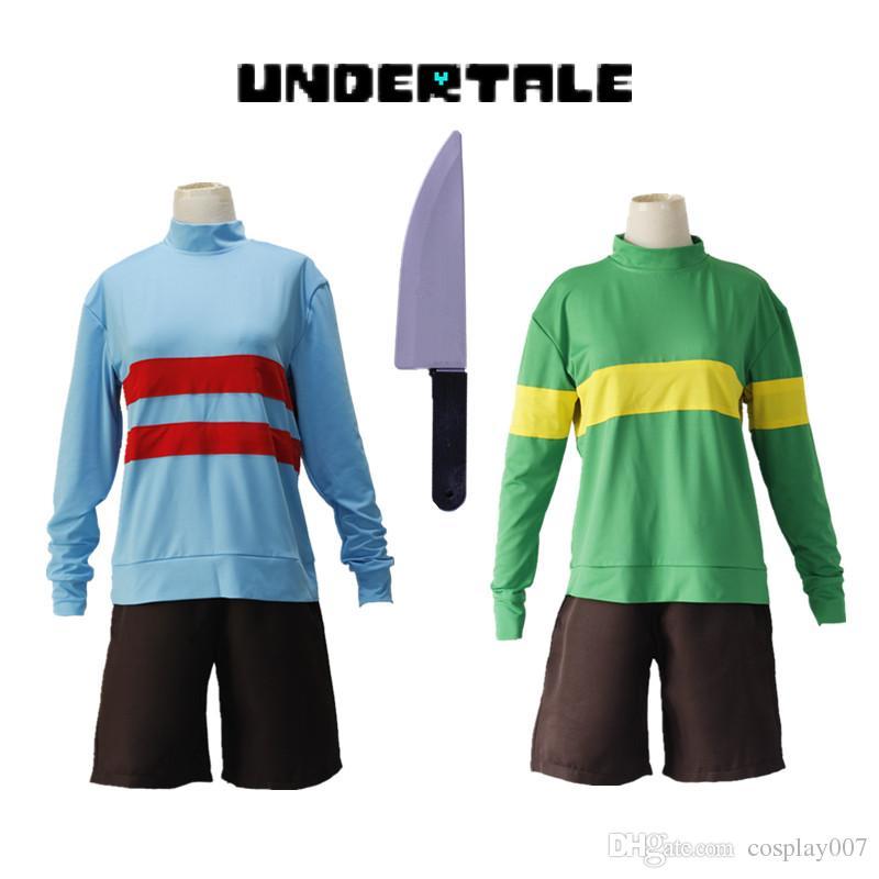 Costumi di Halloween Gioco Undertale Chara Frisk costumi cosplay verde blu Pantalone sportivo completo di coltello incluso set completo