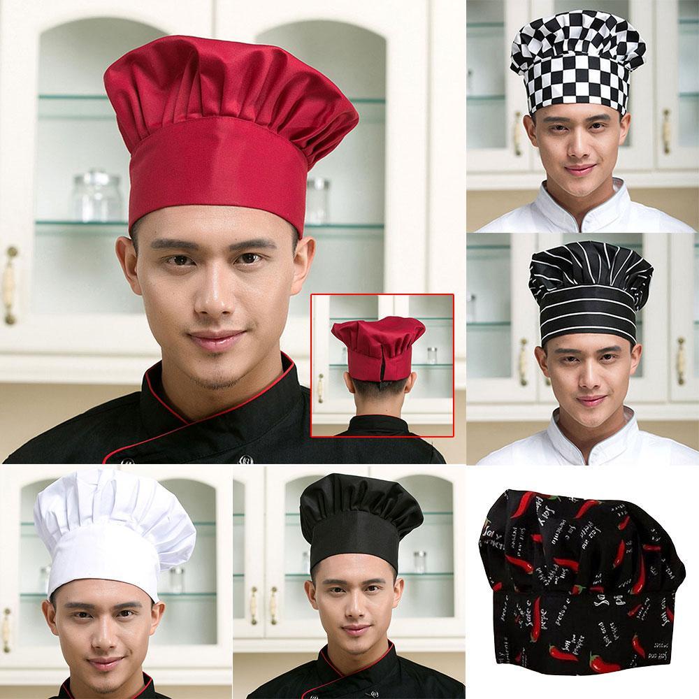 Chapéu de Cozinheiro Elastic Men Cozinhar Cap Conveniente ajustável Acessórios de cozinha Negócios Campo 6 Padrão Durable Confortáveis