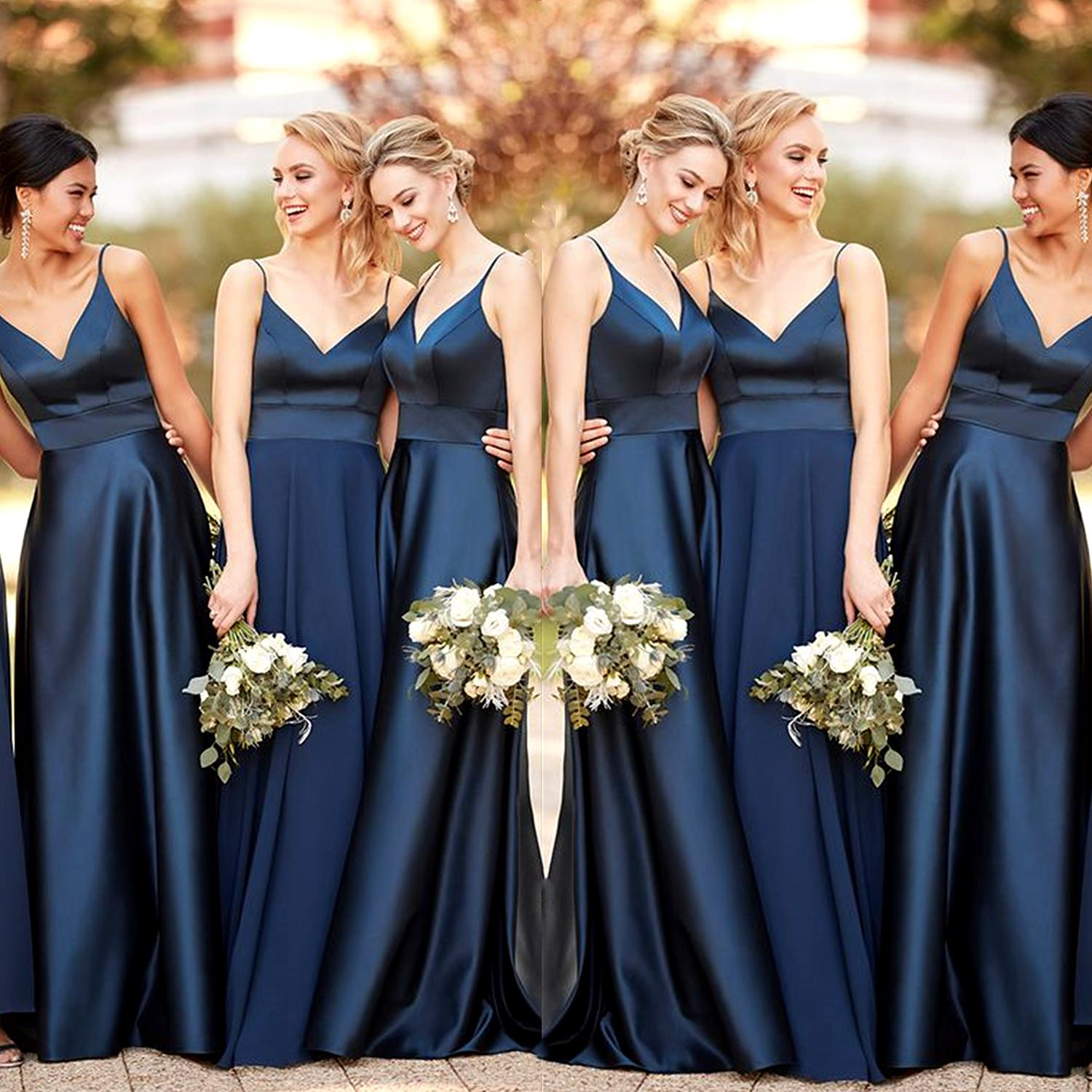 Navy Blue Bridesmaid Dresses Long 2020 A Line Satin Spaghetti Straps Wedding Guest Party Dress For Bridesmaid Maid Of Honor Dresses Bridesmaid Dresses Gowns Highstreet Bridesmaid Dresses From Wholesalefactory 80 17 Dhgate Com