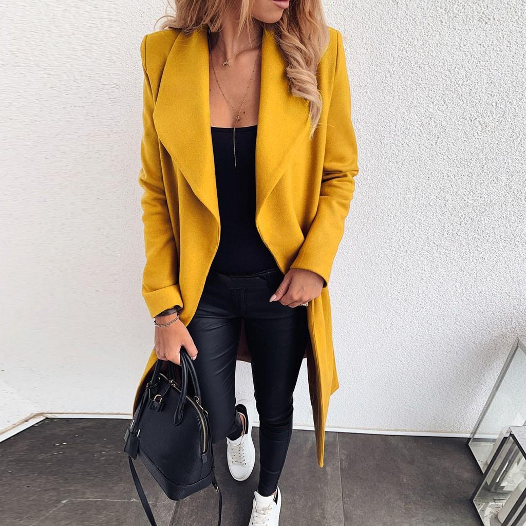 Lungo misto lana del cappotto Donne risvolto collare largo anteriore aperto giacca cardigan Ufficio Warm soprabito delle signore delle donne Coat Manteau Femme