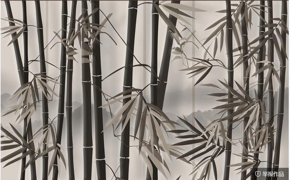 papel de parede para paredes 3 d para sala de estar retro de bambu Papéis de parede arte fundo da floresta sofá TV