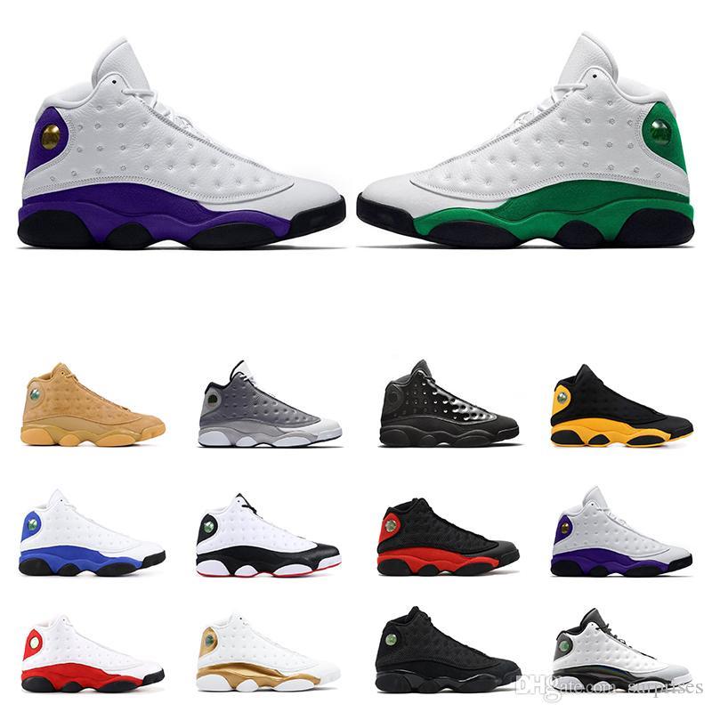 Nuovo Arrivel Mens scarpe da basket 13s fortunati verdi 13 CORTE Viola Nero Gatto di razza sneakers sportive preparatori atletici dimensioni 7-13