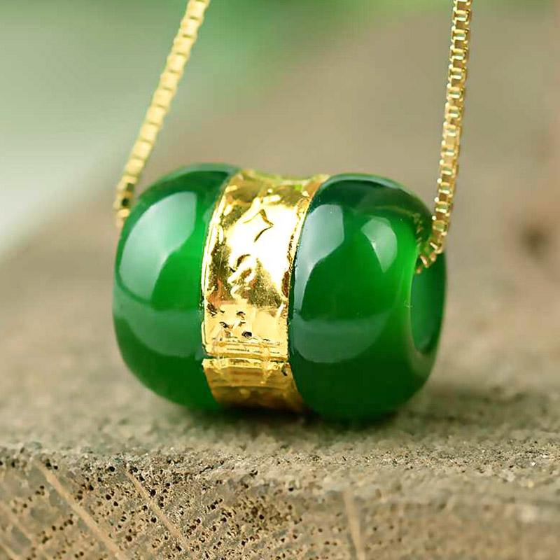 [HXC]Chalcedony Transfer Beads Pendant Gold Jade LuLuTong عقد Lucky Amulet Lovers Jewels For Men Women Gift