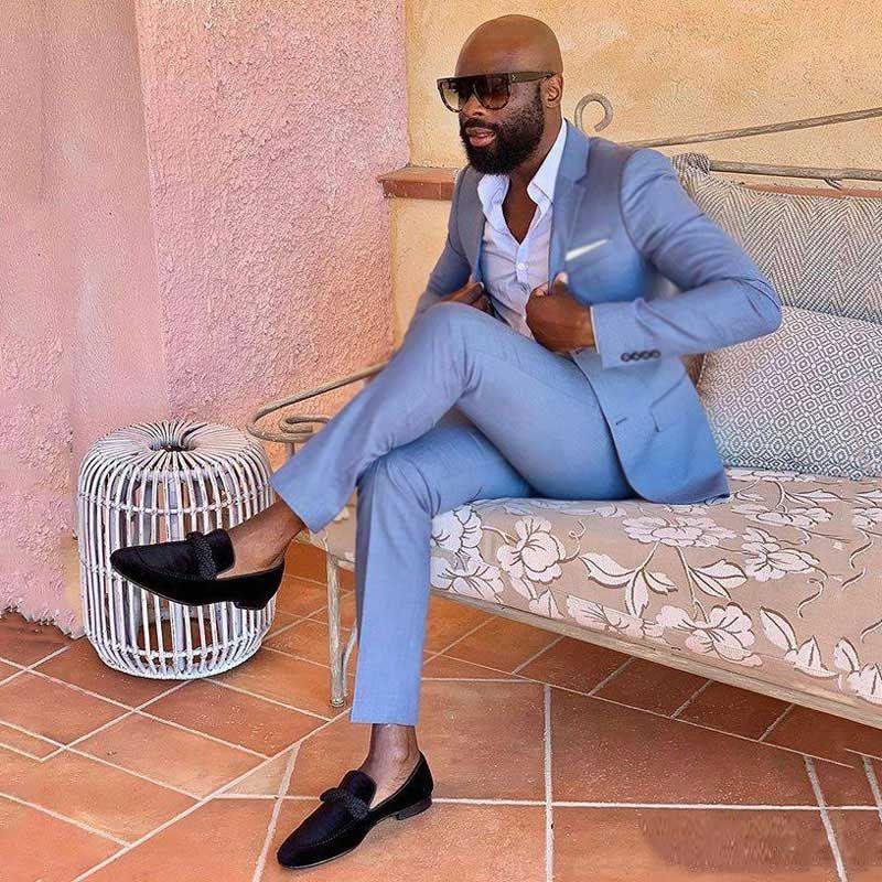 Erkekler için Mavi Takım Elbise Iş Iki Düğmeler Slim Fit Terno Masculino Balo Adam Blazer Homecoming Parti 2 Adet Custom Made Kostüm Homme Mariage