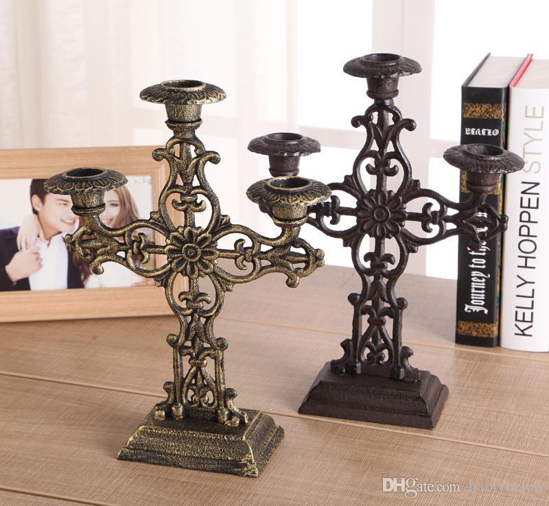 2PCS Decorative Cast Iron Candelabra Candlestick 2 Arm 3 Light Pillar Candle Holder Stand Wedding Christmas Dinner Home Decor Bronze Brown