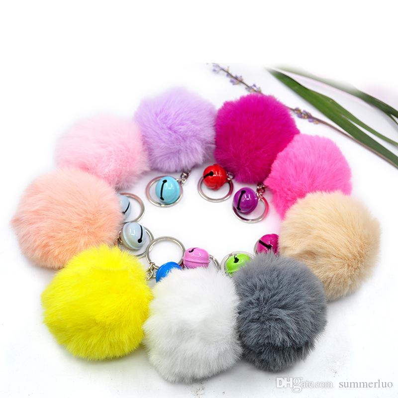 Bell Rabbit Fur Ball Keychain Soft Fur Ball Lovely Gold Metal Key Chains Ball Pom Poms Plush Keychain Car Keyring Bag Earrings Accessories
