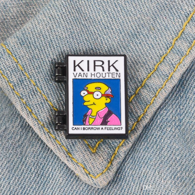Can I borrow a feeling Enamel Pin Flip Cover Brooch badge Old School Lapel pin Denim Jeans shirt bag Cartoon Punk Jewelry Gift