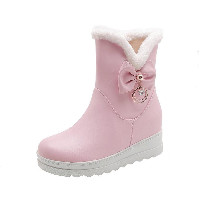 2020 new winter snow boots thick fur inside platform shoes woman wedges heel women ankle boots female shoes large size 41 42