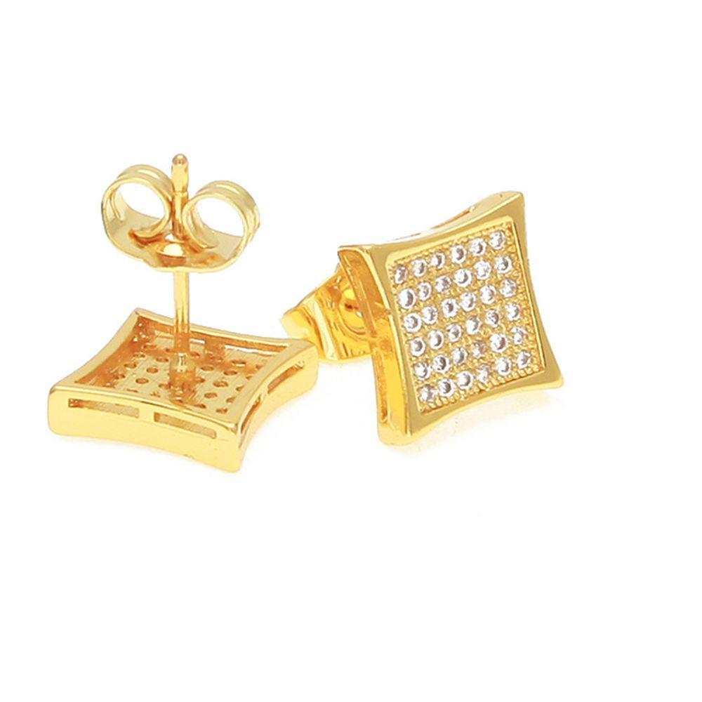 Uomo di Hip Hop della roccia caldo di vendita l'oro giallo 18K riempito Micro-Set Cubic Zirconia rame Orecchini