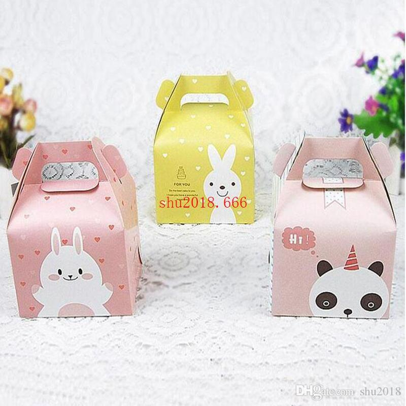 Cartoon Rabbit Handle Single Cupcake Muffin Packaging Paper Box Party Gift Boxes For Wedding Birthday Cake Box