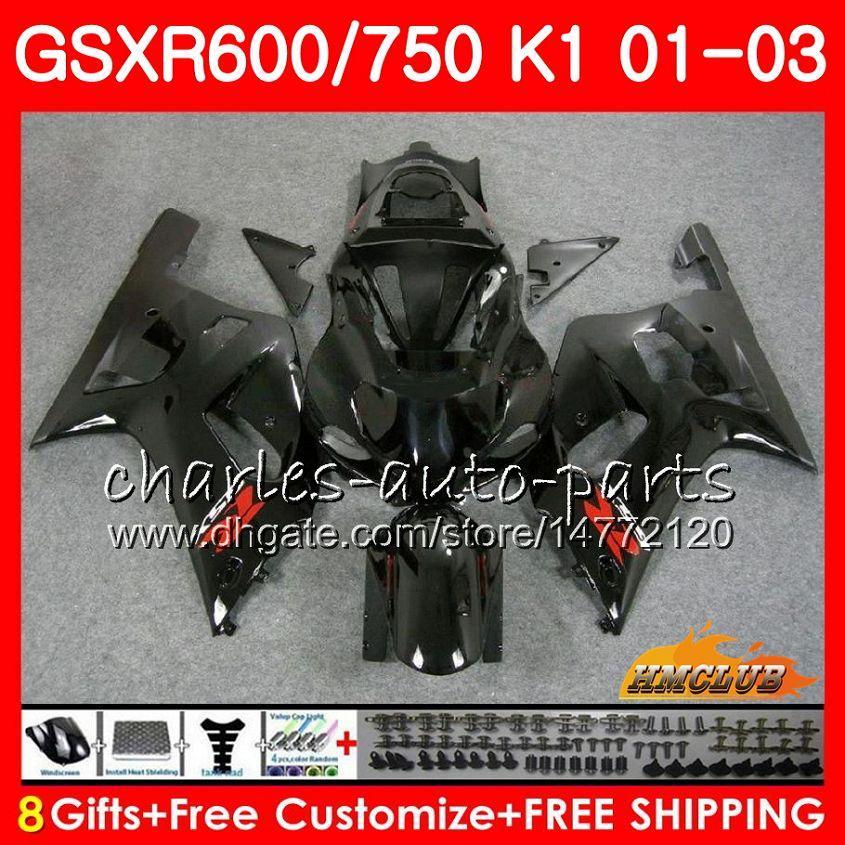 8Gifts Lichaam voor Suzuki GSX-R750 GSXR 600 750 GSXR600 GLOSSY BLACK 01 02 03 4HC.18 GSXR-600 K1 GSX R750 GSXR750 2001 2002 2003 FUNLING KIT