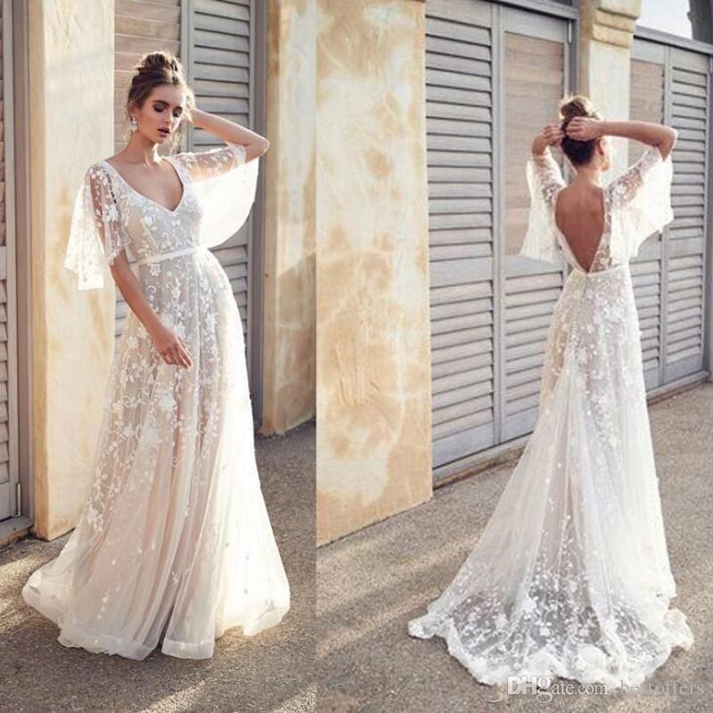 바닥 Vestido 2020 섹시한 보헤미안 웨딩 드레스 레이스 - 라인 화이트 간단한 보헤미안 비치 드레스 등이없는 V 넥 맥시 활주로 드레스 드레스