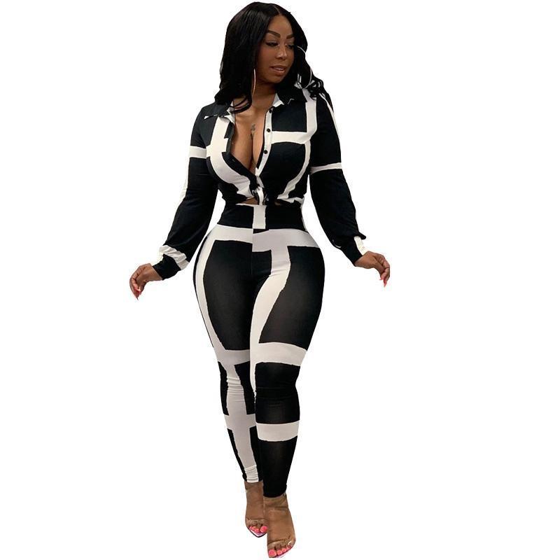 Autunno 2 piece set Donne Tuta casuale Stampa maniche lunghe Top e pantaloni della tuta Tute le donne a due pezzi coordinati Area sottili Outfit