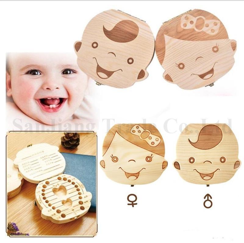 Baby Tooth Box Organizer Save Milk Teeth Wooden Storage Case For Boy Girl Kids