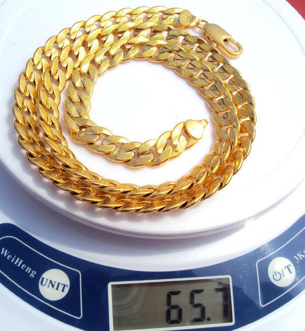 24k Solid Gold Gf Real Two-sided Sequence Sand Cuban Link Chain Necklace 23.6inch Not Satisfied, 7 Days No Reason To Refund J190530