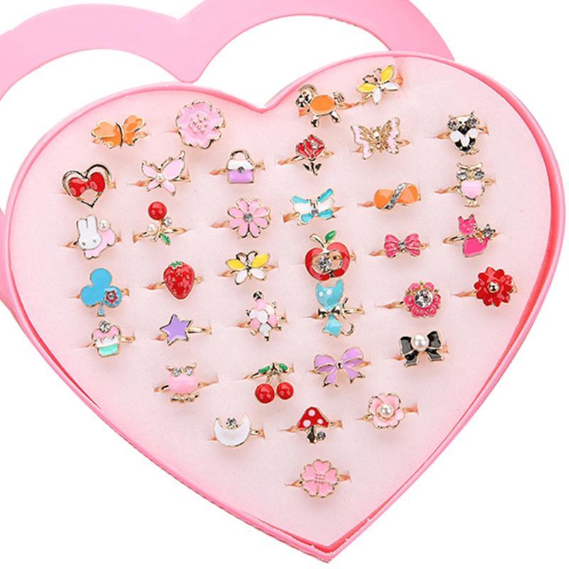 5pcs bambini alla moda bambini dolce carino regolabile in lega di cristallo animale smalto anelli gioielli moda ragazza regali a caso