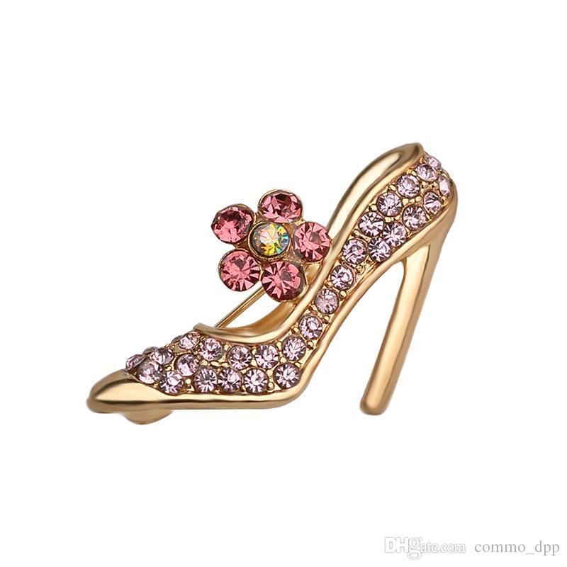 Nuovo arrivo Bling pieno di cristallo tacchi alti spille strass scarpe da ballo collare spille distintivo per le donne uomini gioielli regalo