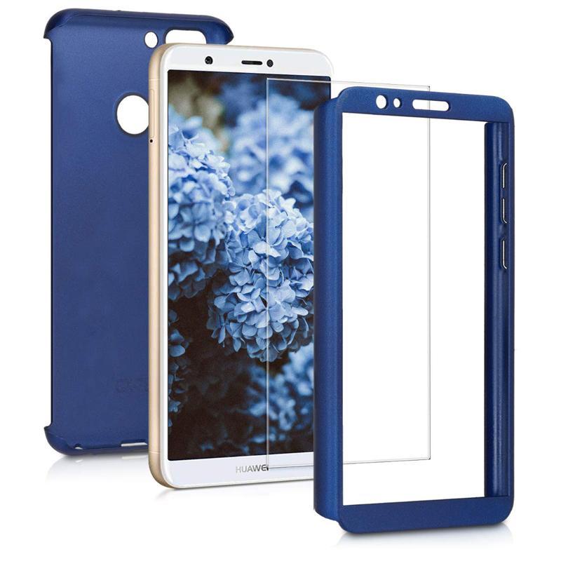 360 Copertura Grado di protezione completo del corpo di caso doppio di strato di caso dura sottile con schermo in vetro temperato Protector per Huawei P intelligente Series