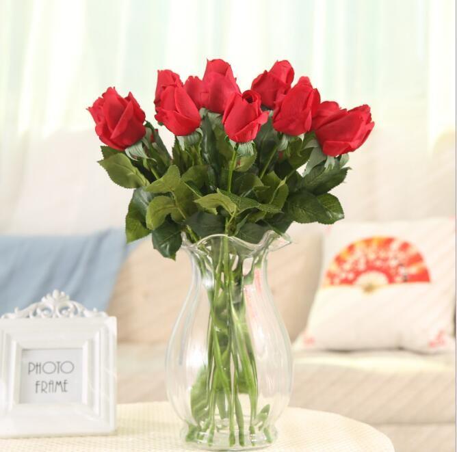 Fleurs artificielles pour la décoration rose bouquet dans vase fleurs en soie arrangements floraux en soie mariage décoration murale fausses fleurs