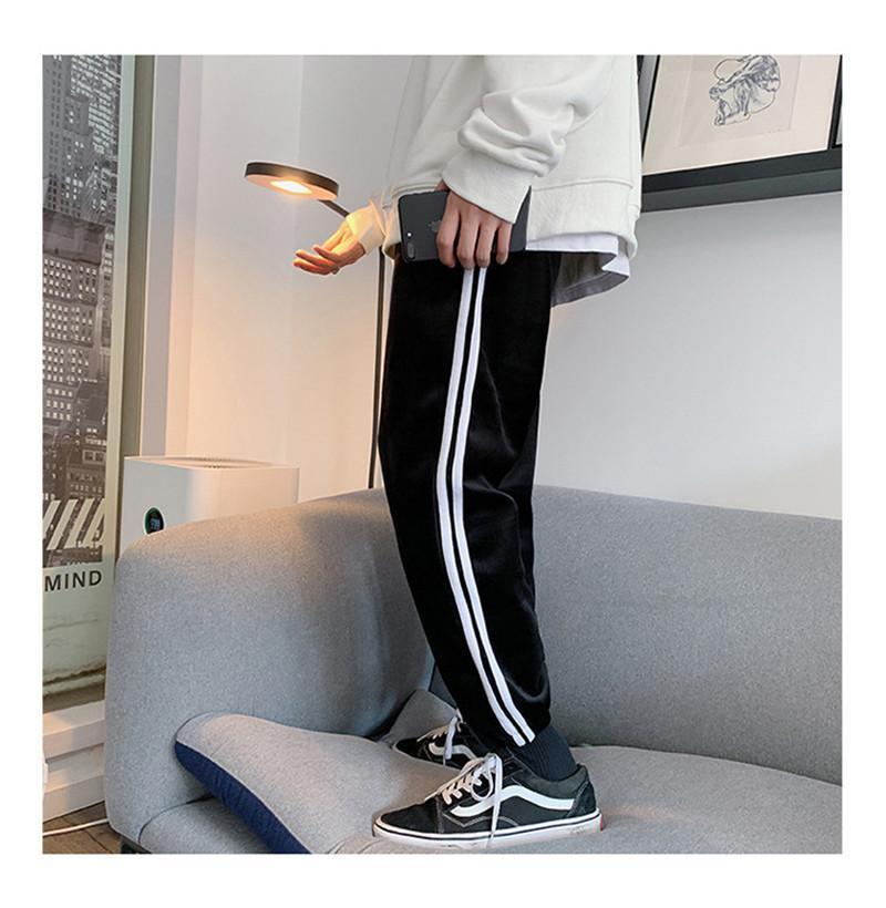 Comprimento do desenhador Mens Pants High Street solto Sport Style listrado com cordão completa ativos Calças HipHop Masculino