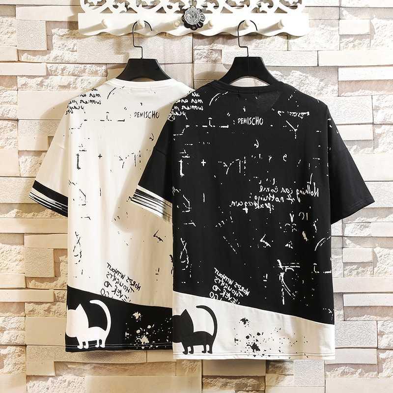 Moda manga corta cuello redondo estampado negro blanco camiseta hombres algodón 2020 verano ropa TOP camisetas camiseta más oversize M-5X