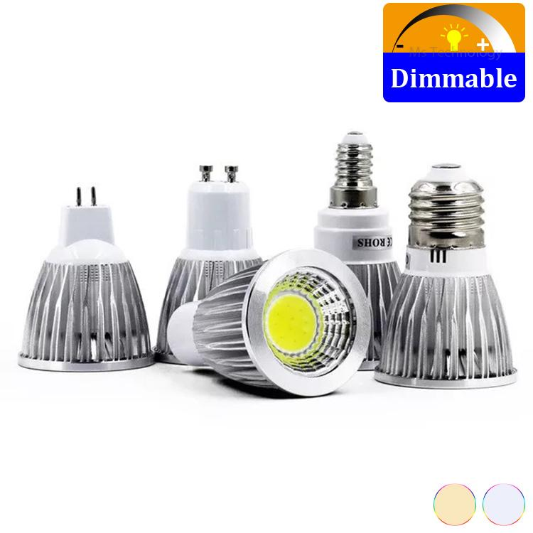 100pcs / lot ampoules à LED dimmable E27 E14 GU5.3 GU10 COB Spotlight 3W 5W 7W Lampada LED Light Bombilles LED Lampe Lumière