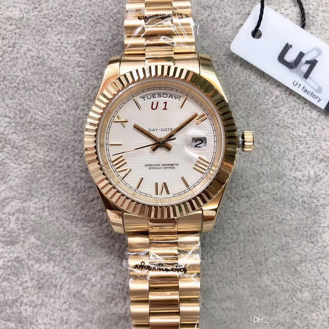 옐로우 골드 대통령 팔찌 날짜 남성 시계 40MM 루미 너스 화이트 다이얼 시계 스크래치 방지 사파이어 크리스탈 자동 손목 시계