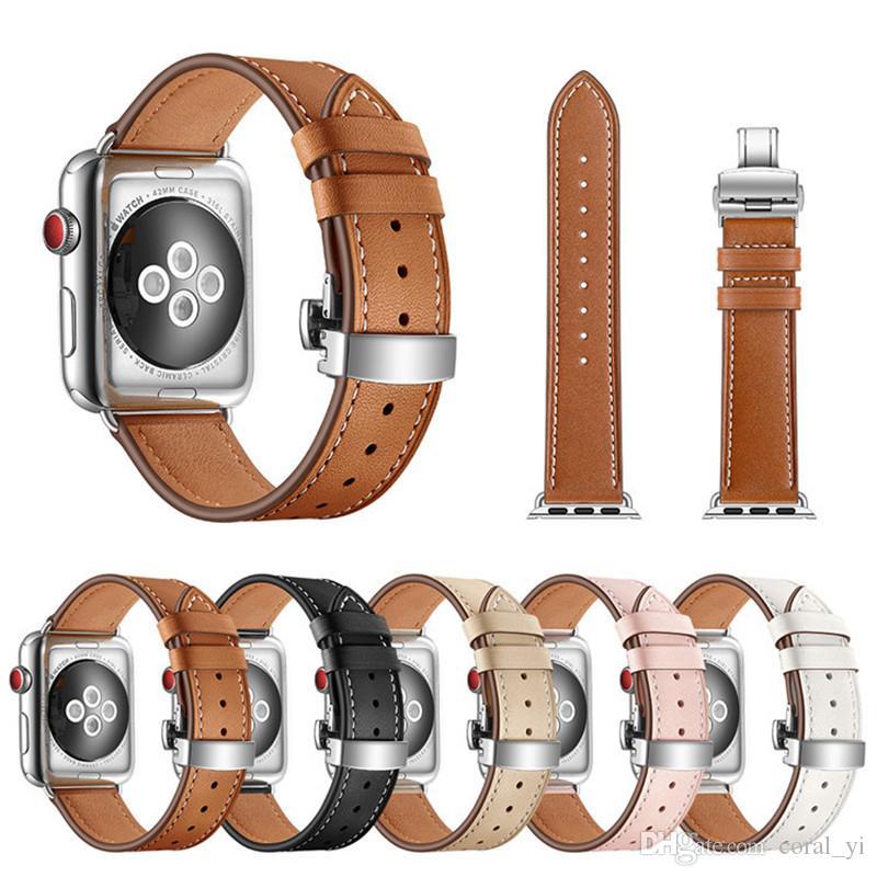 бабочка застежка кожаный ремешок для apple watch серии 4/3/2/1 мода группа 38 мм 40 мм 42 мм 44 мм для iwatch