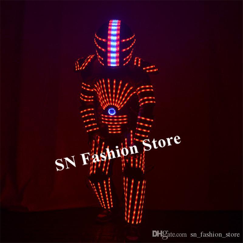 P25 Party dance led robot suit RGB colorful light armor outfits disco wears stage show luminous clothe dj dress helmet perform party wears