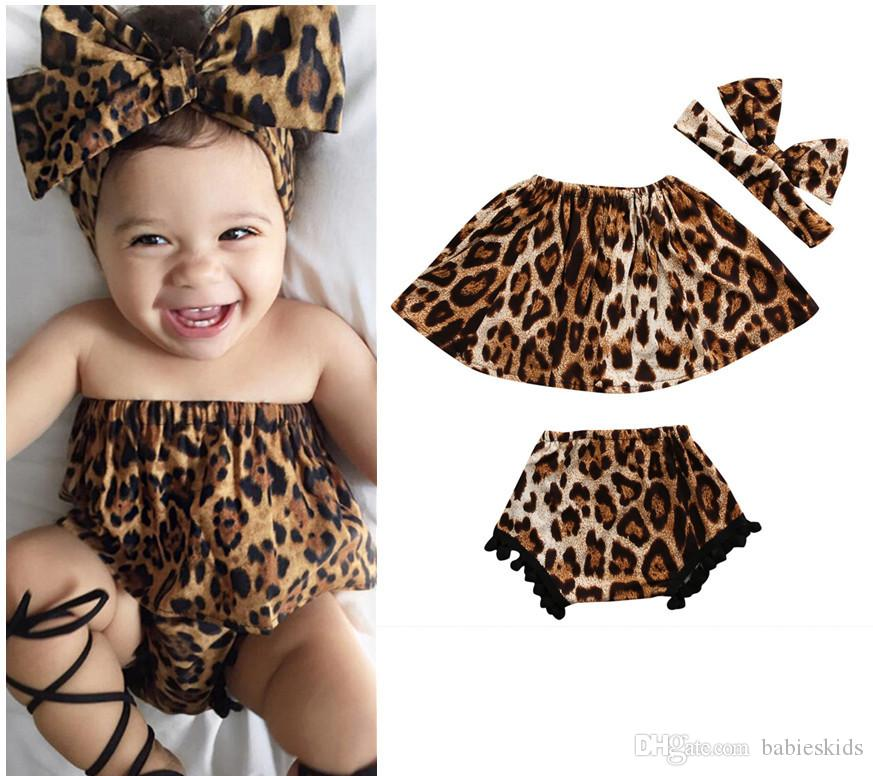 Baby Girls Dresses Leopard Print Girls Fashion Kids Suit Off Shoulder Top + Shorts + Headband 3PCS For Girls Clothes