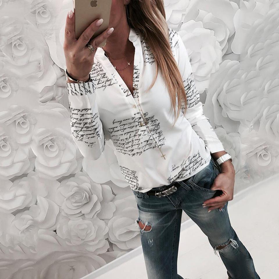 Printed Letter V Neck T Shirt Long Sleeve Shirts Pullover Shirt Tops Blouse Fashion Women Clothes Drop Ship