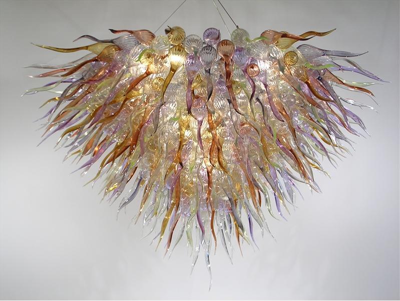 Lampe moderne Cristal Cristal Main Bouche Blown Glass Murano Chandeliers Couleur / Taille Lampes Personnalisées Belle chambre de vacances Pendentif lustre