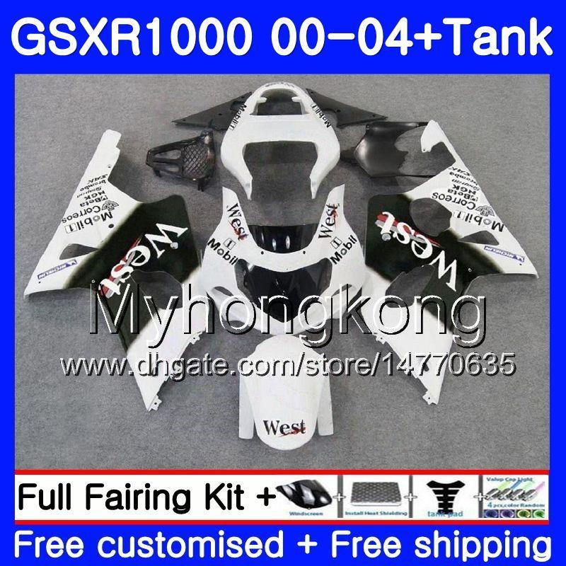 + Réservoir Pour SUZUKI GSX R1000 GSXR1000 2000 2001 2002 2003 2004 Blanc Ouest chaud 299HM.33 GSXR-1000 K2 GSX-R1000 K3 GSXR 1000 01 02 03 04 Carénage