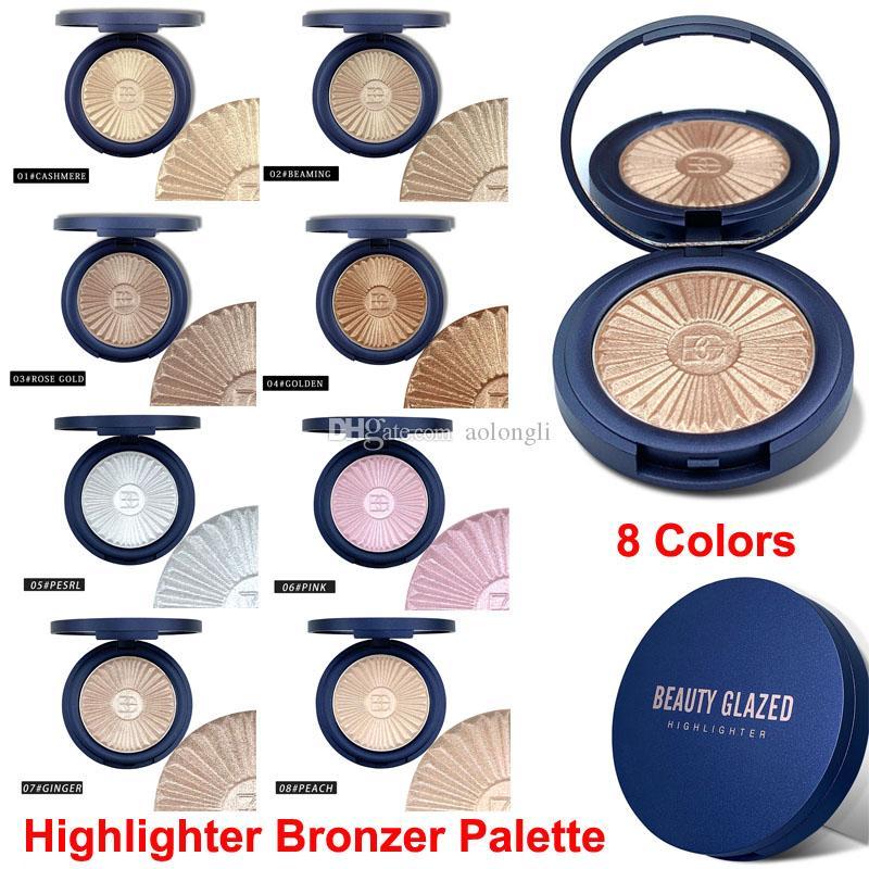 Piel de maquillaje de belleza vidriada Bronceador de resaltado Polvos contorno del resplandor de la gama de colores colorete aclaran iluminador en polvo con el espejo