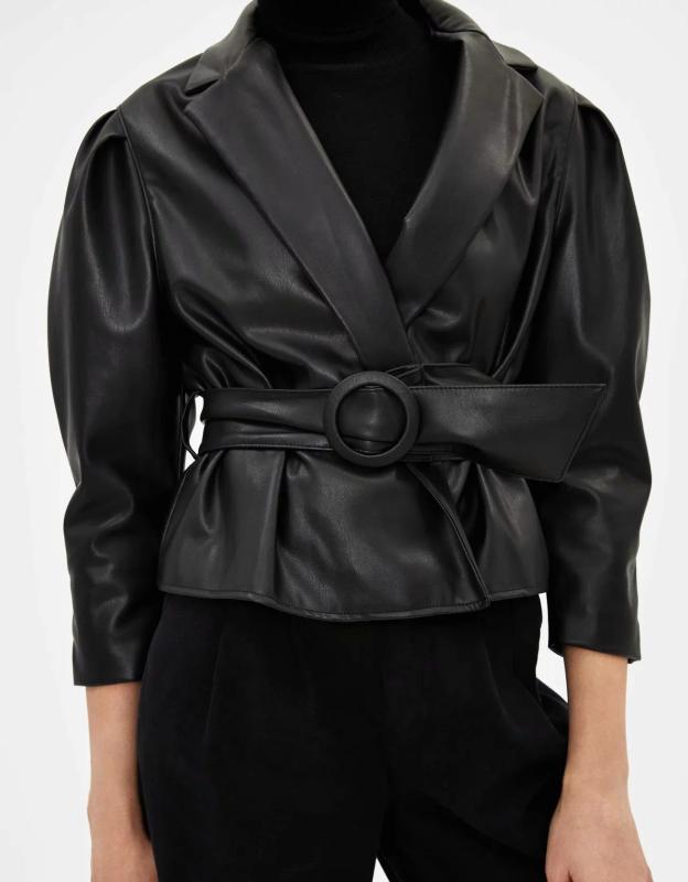Зимняя черная кожаная куртка женщин поясами PU велосипедиста куртка мотоцикла искусственной кожи Пальто женские меховые куртки падения 2019
