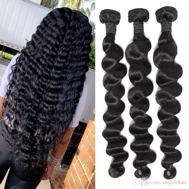 브라질 버진 인간의 머리카락 3 번들 스트레이트 바디 느슨한 깊은 파도 곱슬 저렴한 9A 페루 원시 인도 머리카락 확장 도매