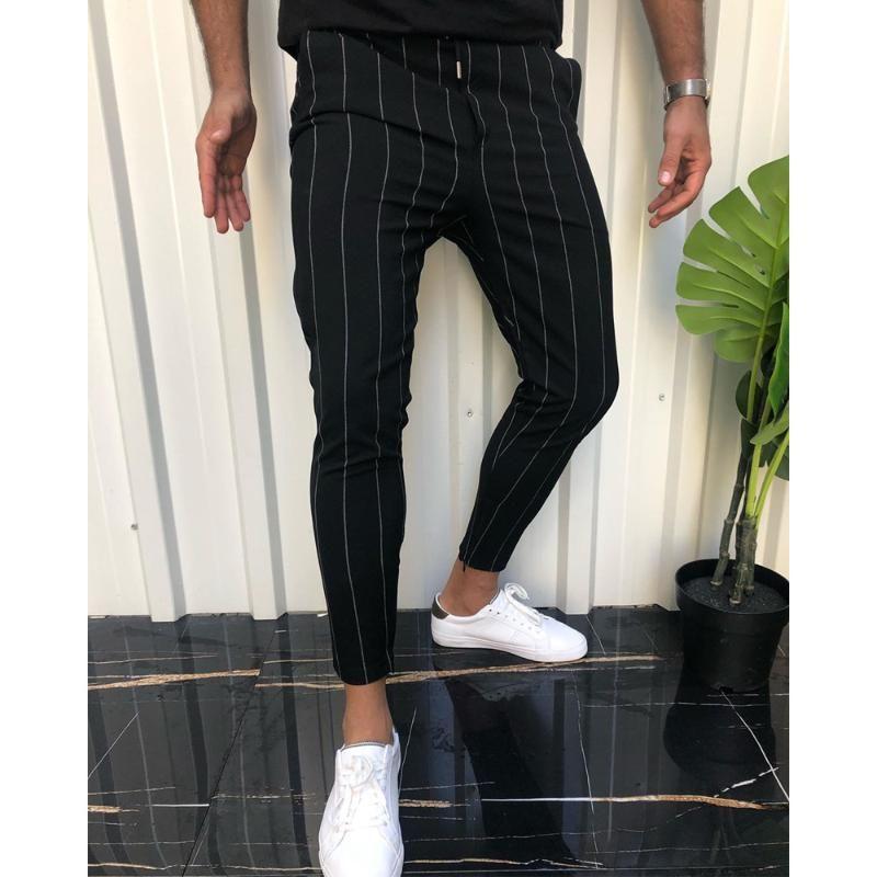 Pantalon homme rayé Pantalons Casual Male été Vêtements Social Slim Fit Streetwear SweatpantsHip Hop souple élastique 2020