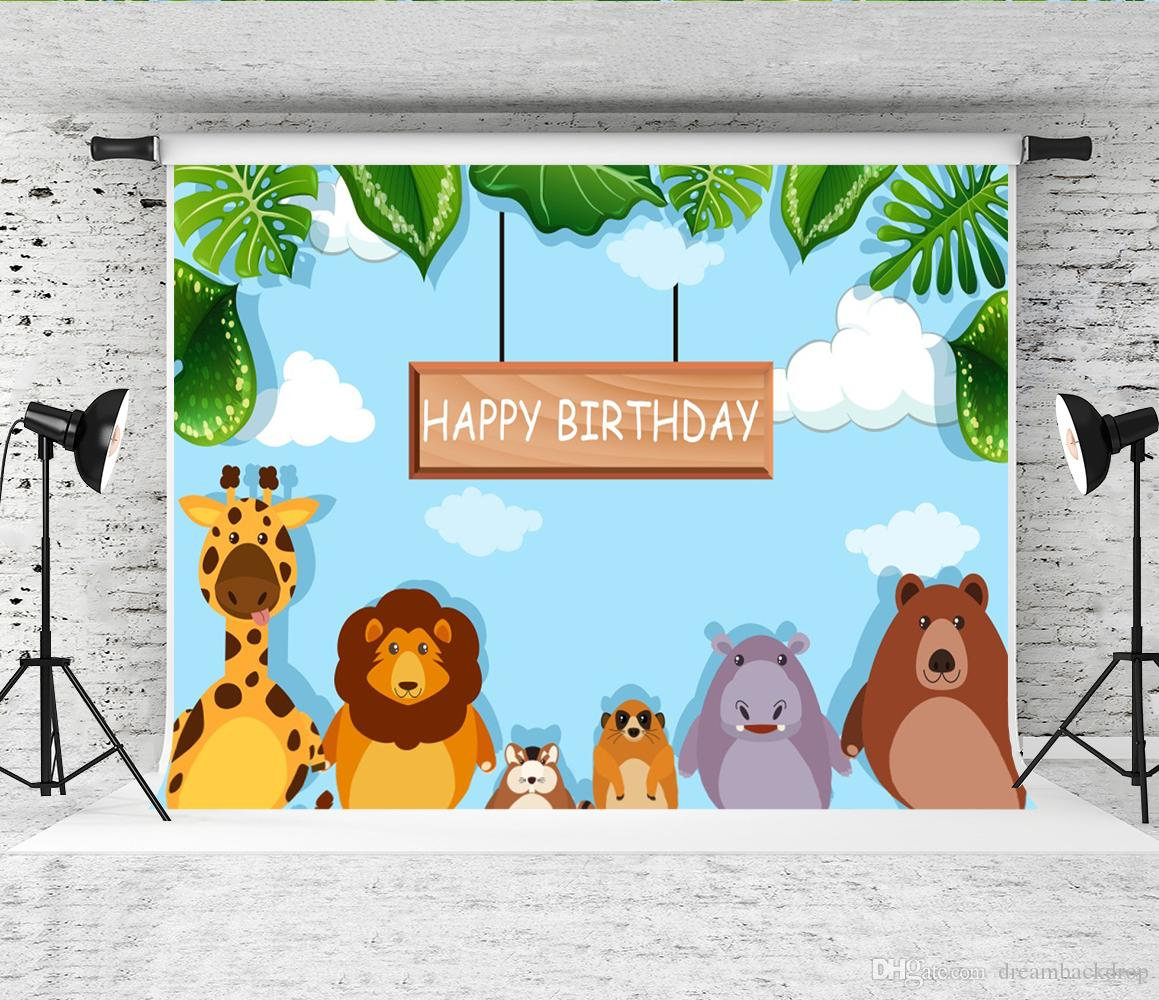Dream 7x5ft Animal Forest Photography Background Zoo Theme Birthday Party Photo Backdrop for Children Baby Shower Backdrops Studio Prop