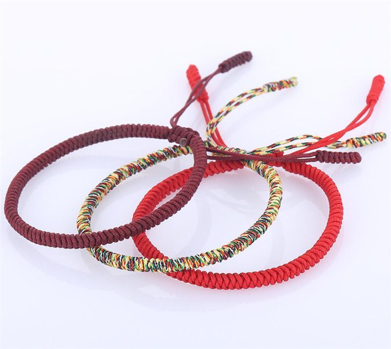 3 PCS Multi Cor Budista Tibetano Boa Sorte Charme Tibetano Pulseiras Pulseiras Para Mulheres Homens Handmade Knots Corda Pulseira